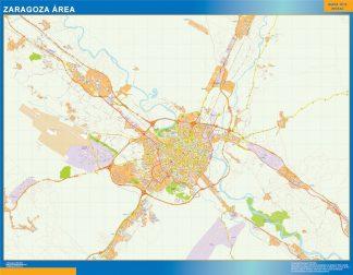 Mapa carreteras Zaragoza Area enmarcado plastificado