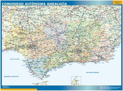 Mapa de Andalucia enmarcado plastificado