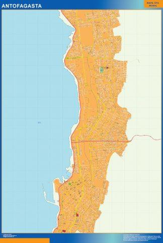 Mapa de Antofagasta en Chile enmarcado plastificado
