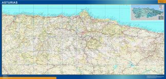 Mapa de Asturias relieve enmarcado plastificado
