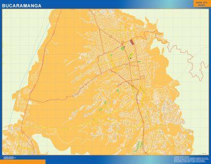 Mapa de Bucaramanga en Colombia enmarcado plastificado
