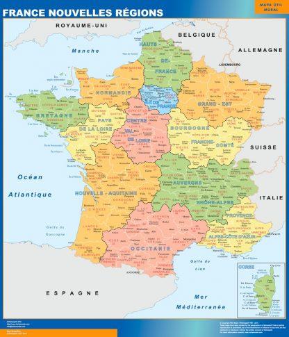 Mapa de Francia con las nuevas regiones enmarcado plastificado