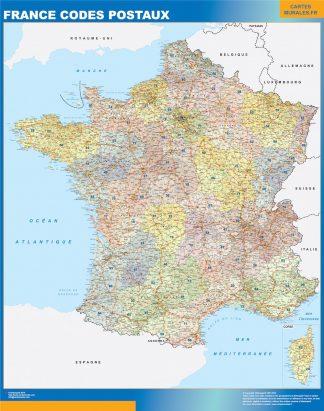 Mapa de Francia de códigos postales enmarcado plastificado