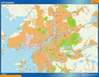 Mapa de Goteborg en Suecia enmarcado plastificado