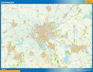 Mapa de Groningen enmarcado plastificado