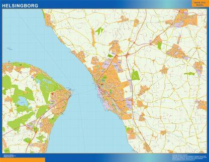Mapa de Helsingborg en Suecia enmarcado plastificado