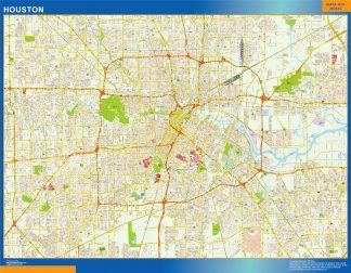 Mapa de Houston enmarcado plastificado
