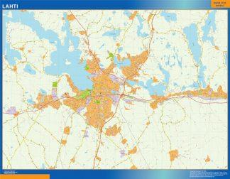 Mapa de Lahti en Finlandia enmarcado plastificado