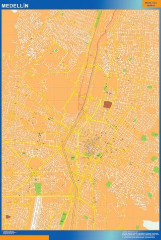 Mapa de Medellin en Colombia enmarcado plastificado