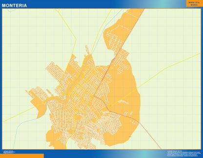 Mapa de Monteria en Colombia enmarcado plastificado