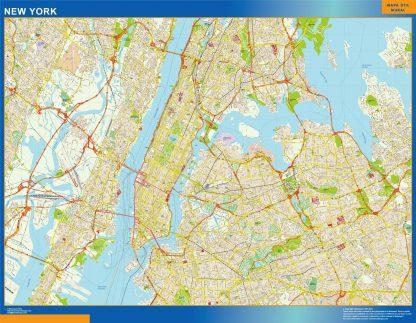 Mapa de Nueva York enmarcado plastificado