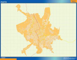 Mapa de Pasto en Colombia enmarcado plastificado
