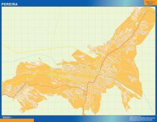 Mapa de Pereira en Colombia enmarcado plastificado