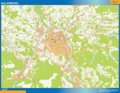 Mapa de Salzsburgo en Austria enmarcado plastificado
