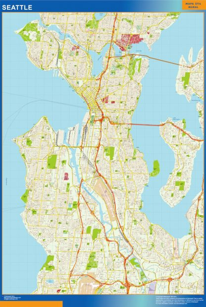 Mapa de Seattle enmarcado plastificado