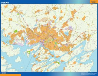 Mapa de Turku en Finlandia enmarcado plastificado