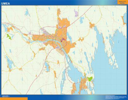Mapa de Umea en Suecia enmarcado plastificado
