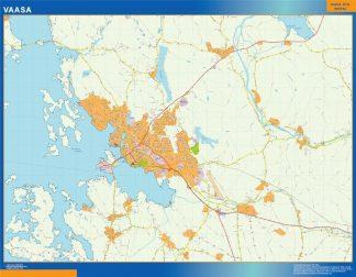 Mapa de Vaasa en Finlandia enmarcado plastificado