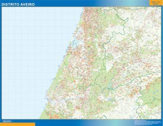 Mapa distrito Aveiro enmarcado plastificado