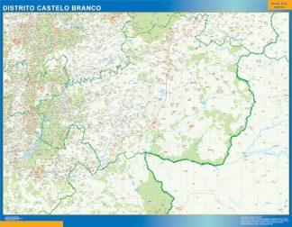Mapa distrito Castelo Branco enmarcado plastificado