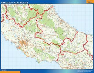 Mapa región Abruzzo Lazio Molise enmarcado plastificado