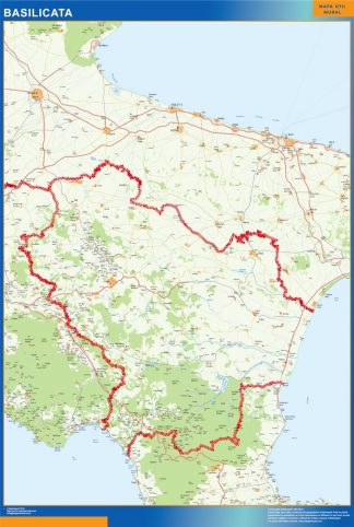 Mapa región Basilicata enmarcado plastificado
