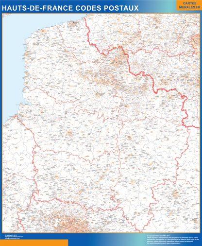 Mapa región Hauts de France postal enmarcado plastificado