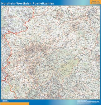 Mapa región Nordrhein-Westfalen codigos postales enmarcado plastificado