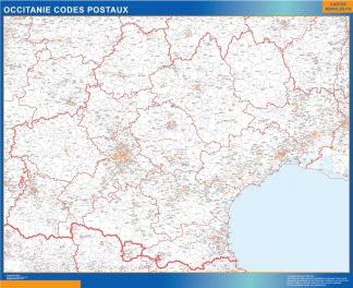 Mapa región OccitanIe postal enmarcado plastificado