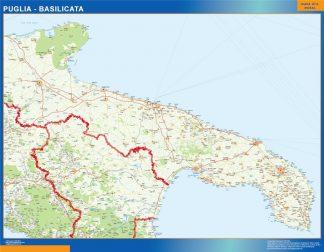 Mapa región Puglia enmarcado plastificado