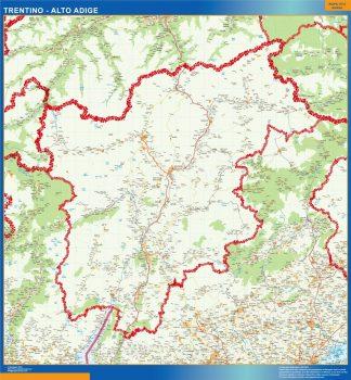 Mapa región Trentino Alto Adige enmarcado plastificado