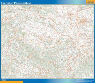 Mapa región Turingia codigos postales enmarcado plastificado