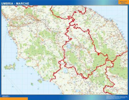 Mapa región Umbria Marche enmarcado plastificado