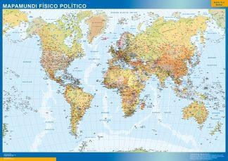 Mapamundi Fisico Politico enmarcado plastificado