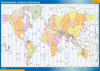 Mapamundi Husos Horarios enmarcado plastificado