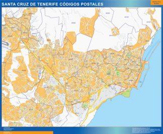 Santa Cruz de Tenerife códigos postales enmarcado plastificado