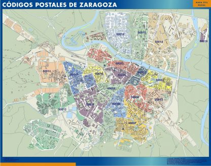 Zaragoza códigos postales enmarcado plastificado